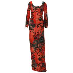 New ETRO Jersey Red Black Long Dress with Belt IT.42
