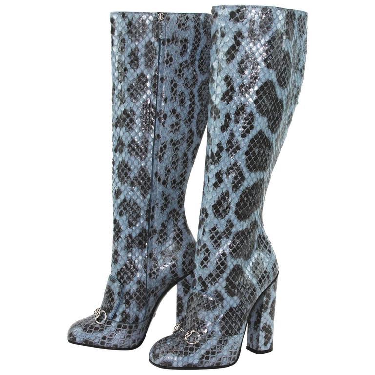 NEW GUCCI Campaign $3500 Python Horsebit Knee High Boot Aquamarine 39.5 - US 10
