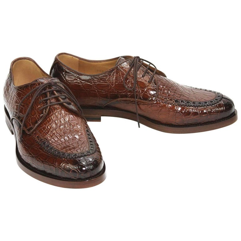 88b36412a70e0 New $4000 Gucci Millennium Mens Shaded Crocodile Oxford Brown Shoes US 7.5  It 41 For Sale
