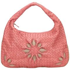 Bottega Veneta	Pink Leather Flower Intrecciato Handbag