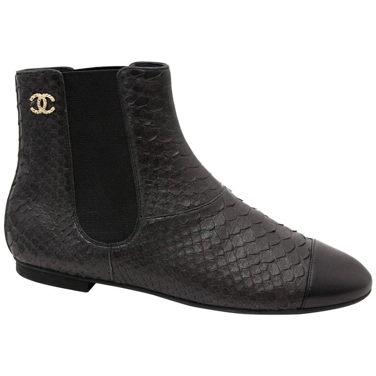 Chanel Python Black Ankle Boots 1