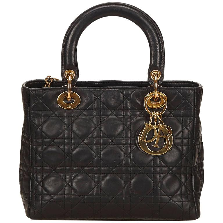 Dior Black Leather Lady Dior For Sale