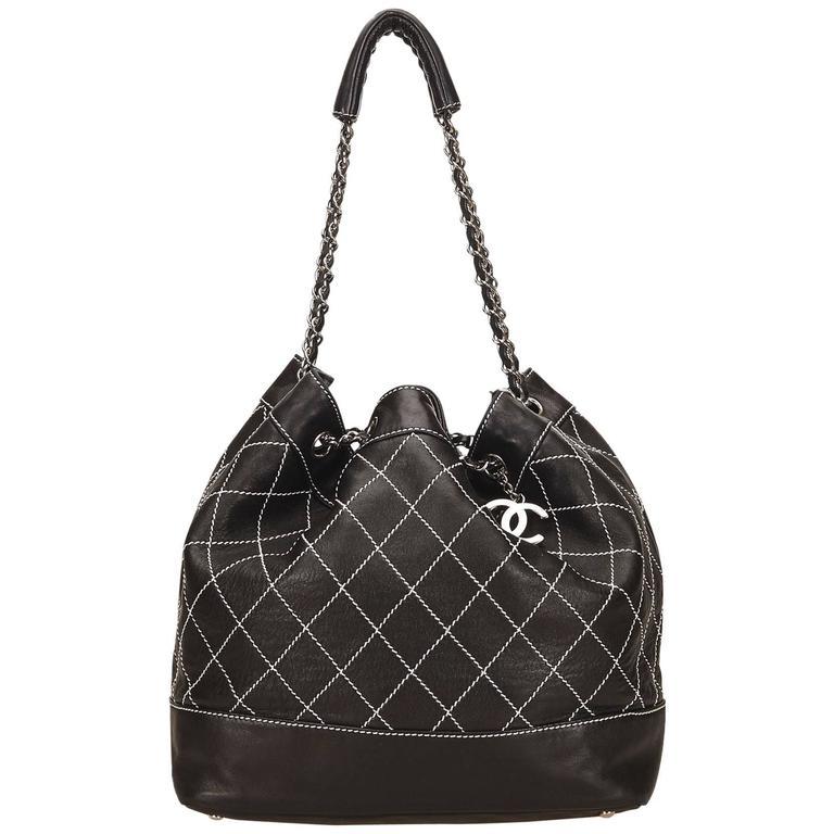 Chanel Black Wild Stitch Drawstring Tote Bag For Sale at 1stdibs 08db09ce97f5b