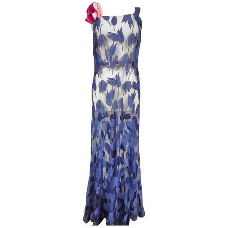 Deep Blue Applique Net Couture Dress 1930/1940 For Sale