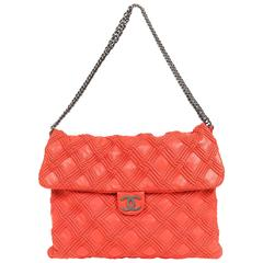 Chanel Red Leather Walk of Fame Flap Bag