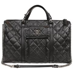 Chanel Black Leather Unisex XL Weekender Bag