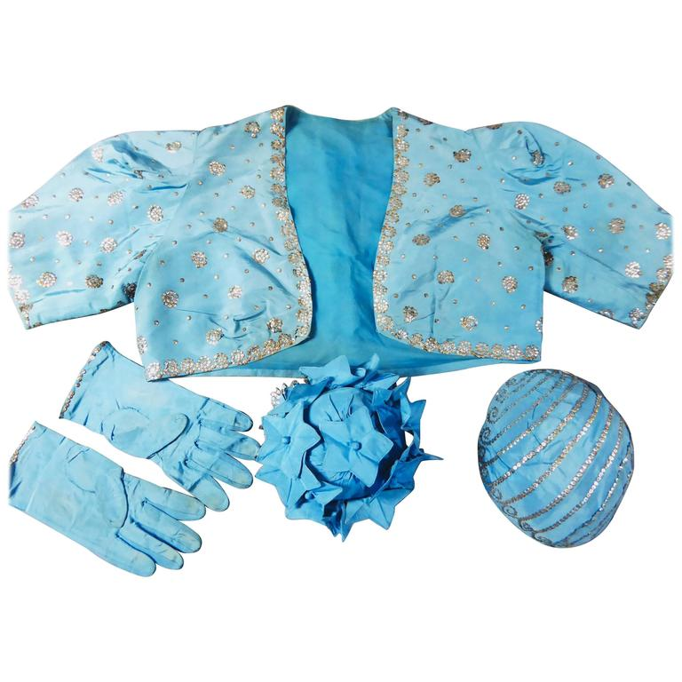 Jeanne Lanvin Haute Couture Boléro Reticule gloves and Bibi from 40s