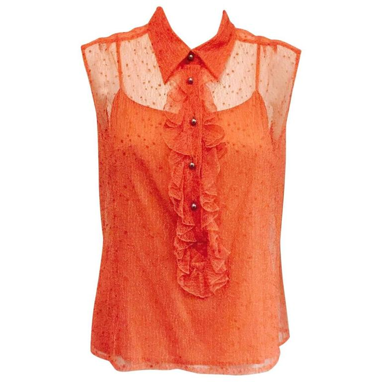Chanel Peach Lace Sleeveless Top with Camisole and Ruffled Front  1
