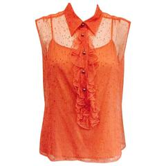 Chanel Peach Lace Sleeveless Top with Camisole and Ruffled Front