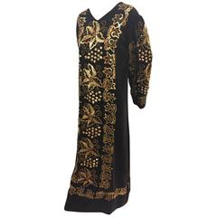 1960s Black Velvet Caftan w Gold Hand-Embroidery, Sequins and Bell Sleeves
