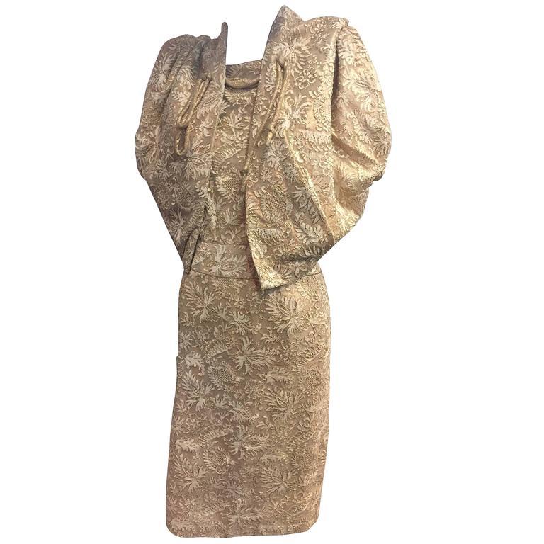 Exquisite 1950s Don Loper Gold Lamé Lace Sheath Dress w Matching Cocoon Bolero