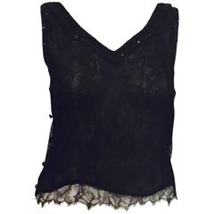 Chanel Black Lace Camisole With Sequins