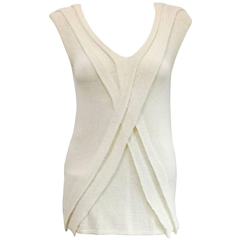Chanel Longer Length Ivory Stretch Top With V-Neckline and Cap Sleeves
