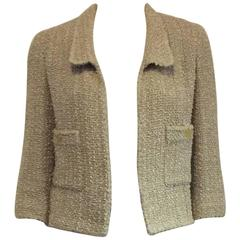1990s Chanel Beige Tweed Jacket With Bracelet Sleeves and Patch Pockets