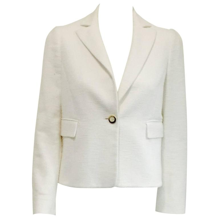 Valentino Ivory Cropped Cotton Jacket w Flap Pockets & Single Button Closure