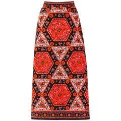 MR. DINO c.1970's Multicolor Floral Geometric Print Velvet Maxi Skirt