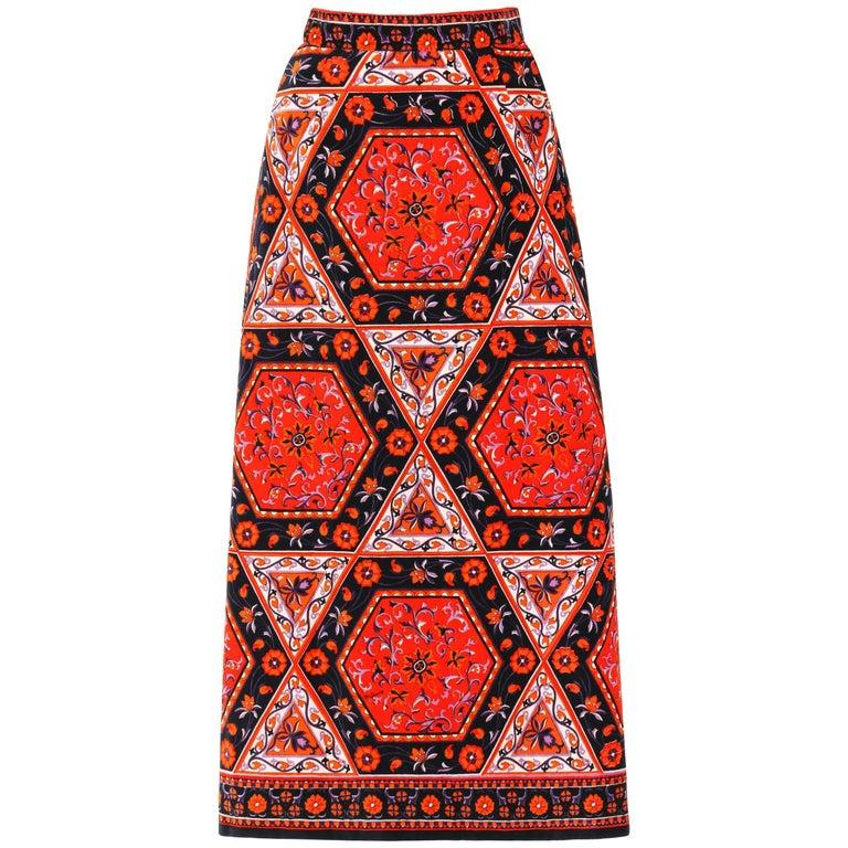 MR. DINO c.1970's Multicolor Floral Geometric Print Velvet Maxi Skirt For Sale