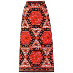 MR. DINO c.1970's Multicolor Floral Geometric Print Velvet Maxi Skirt
