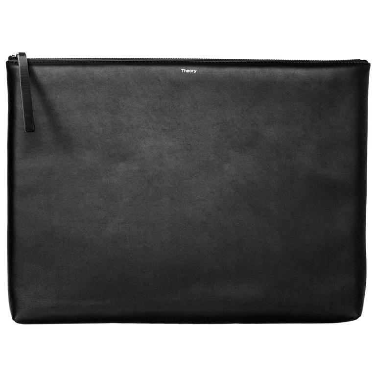 theory black leather xl portfolio clutch bag at 1stdibs