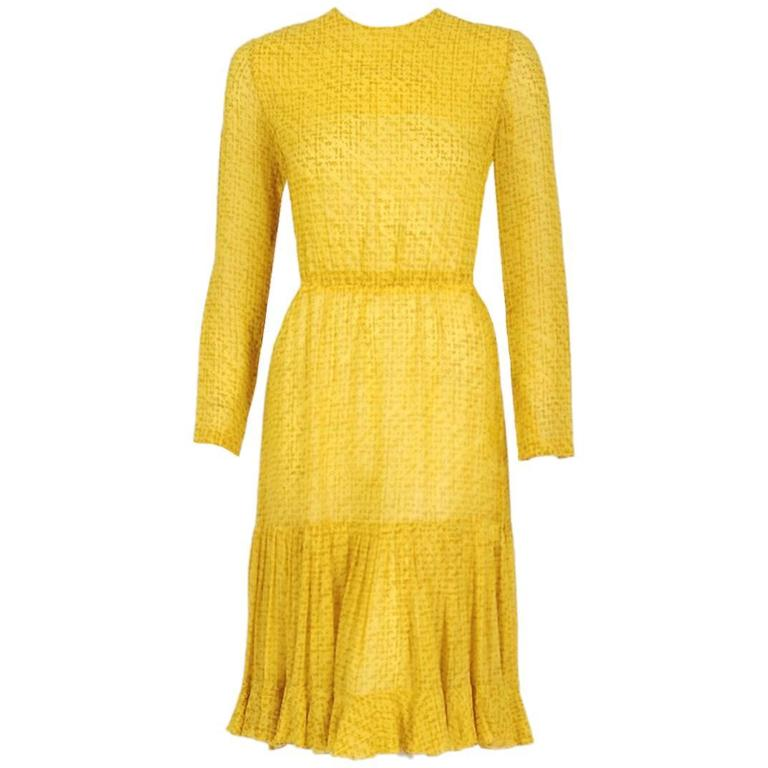 1975 Christian Dior Haute-Couture Yellow Print Chiffon Fishtail Flounce Dress  1