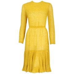 1975 Christian Dior Haute-Couture Yellow Print Chiffon Fishtail Flounce Dress