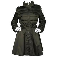 Miu Miu Iridescent Olive Fit Flare Puffer Coat sz IT48 rt. $2,300