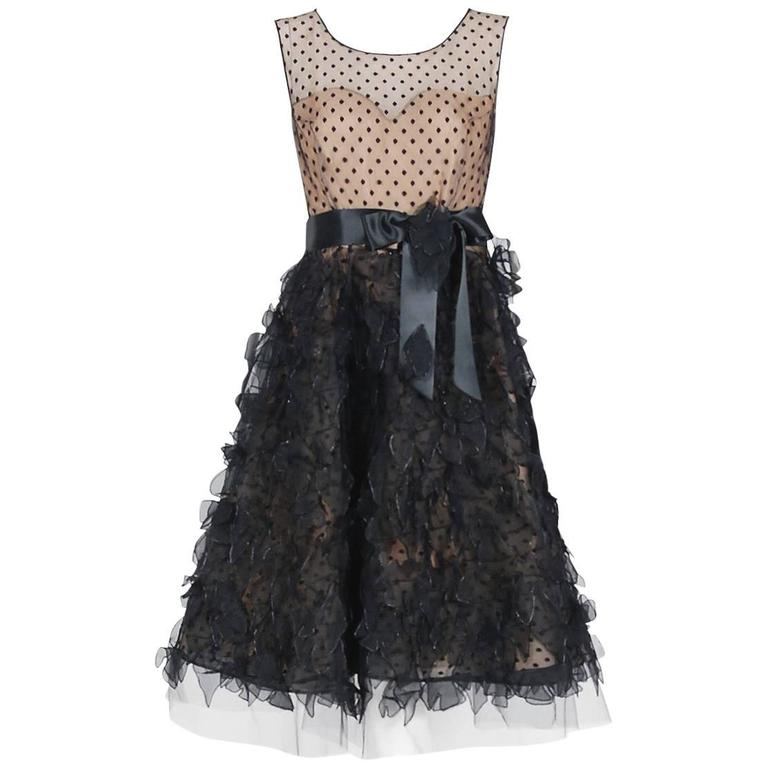 2011 Oscar de la Renta Black & Nude Sheer-Illusion Silk Applique Party Dress   For Sale