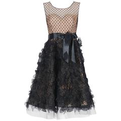 2011 Oscar de la Renta Black & Nude Sheer-Illusion Silk Applique Party Dress