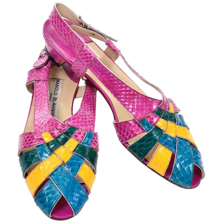 New Snakeskin Vintage Manolo Blahnik London Color Block 1980's Shoes Sandals 39