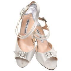 Vintage Manolo Blahnik Satin Shoes Rhinestone Buckles Double Straps Size 39.5