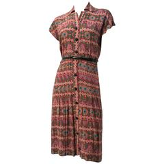40s Printed Rayon Pleated Dress