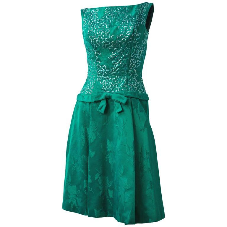 60s Green Jacquard Dress w/ Sequin Bodice