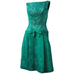 60s Green Jacquard Dress w/ Sequin Bodice