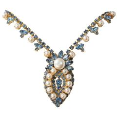 50s Blue Rhinestone and Faux Pearl Necklace