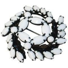 50s Weiss Milk Glass Brooch