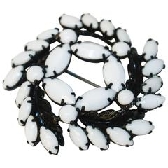 50s Weiss Milk Glass Brooch
