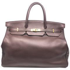 Hermes Birkin 40 Chocolat Taurillon Clemence Leather GHW Top Handle Bag
