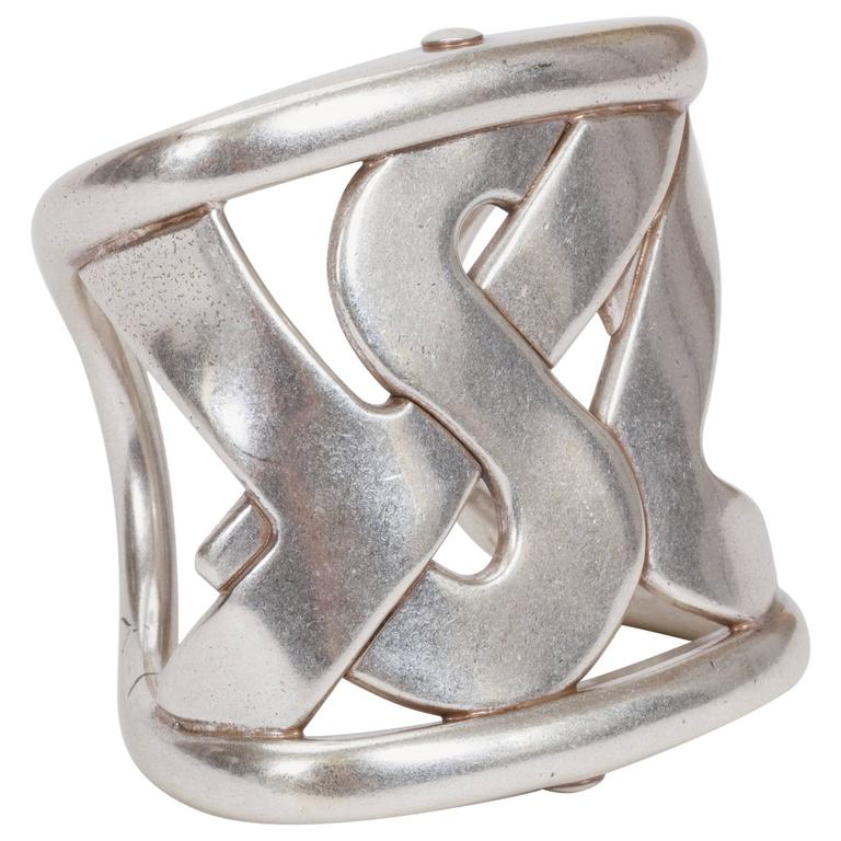 201a5678ae3 YSL Oversize Silver Cuff Bracelet For Sale at 1stdibs