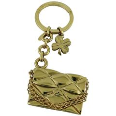 Chanel Spring 2002 Gold Toned Key Ring / Bag Charm