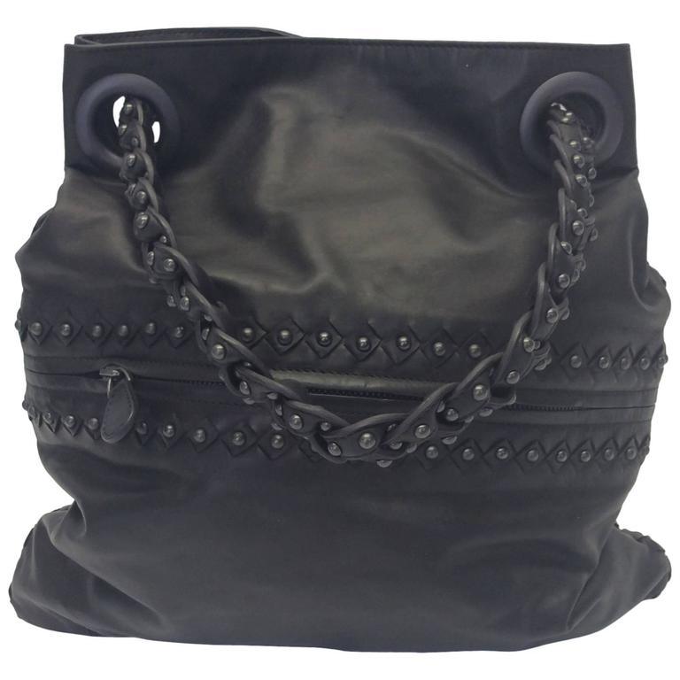 Bottega Veneta Gray Leather Studded Satchel For Sale
