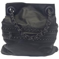 Bottega Veneta Gray Leather Studded Satchel
