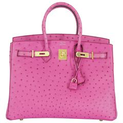 Hermes Birkin Bag 35CM Ostrich Leather Pink Fus WITH GHW RARE