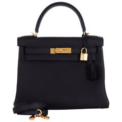 HERMES Kelly Bag 28cm Black Togo with Gold hardware Stunning combo