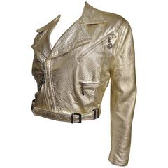 Gianni Versace Vintage Gold Leather Motorcycle Jacket