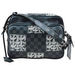 "MENS Louis Vuitton Black Coated Canvas Damier Graphite Rope Pattern ""Nil PM"" Bag"