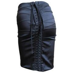 Dolce & Gabbana Laceup Back Silk Skirt