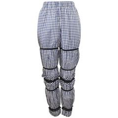 Comme des Garcons Blue and White Gingham Check with Ruffle Lace Details Trousers