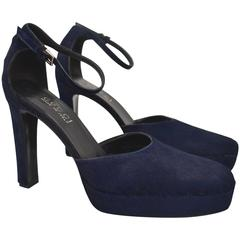 Gucci Tom Ford Blue Pony Skin Heel Court Shoes 90s