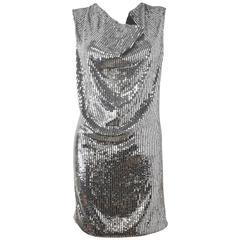 Saint Laurent Hedi Slimane Silver Silk Sequin and Beaded Mini Dress 2015