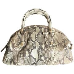 Gucci Bamboo Python Hand Bag / Crossbody Bag